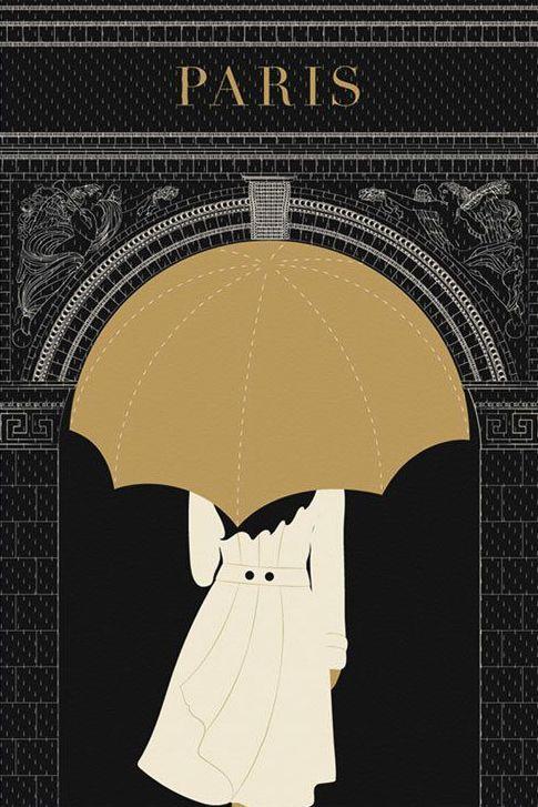 SALE, Paris Print, Umbrella, Arc de Triomphe