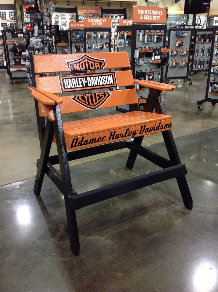 Custom Built Adamec Harley Davidson Liuard Chair By Alan Dunavant With Decor
