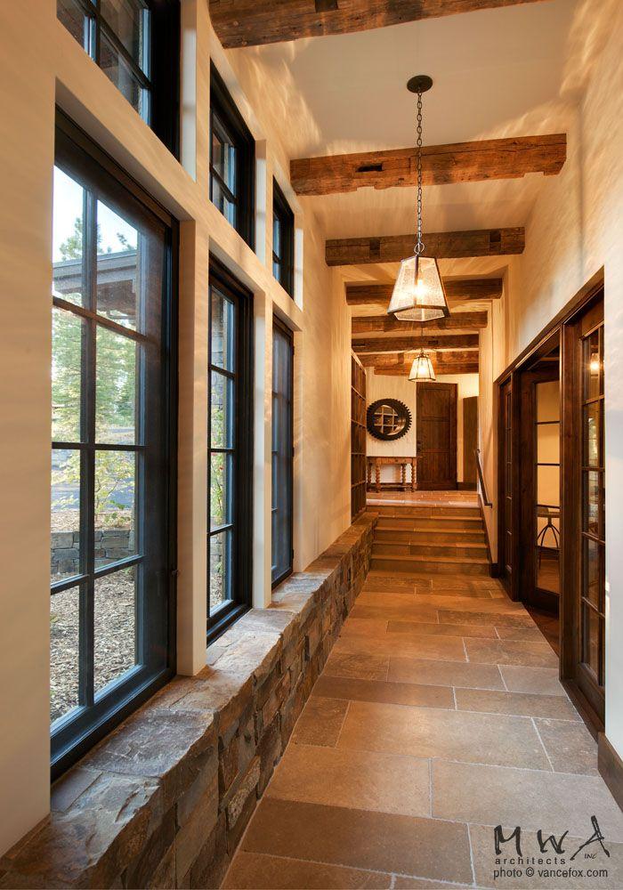 Martis Camp Hallway Stone Wainscot Reclaimed Beams Limestone