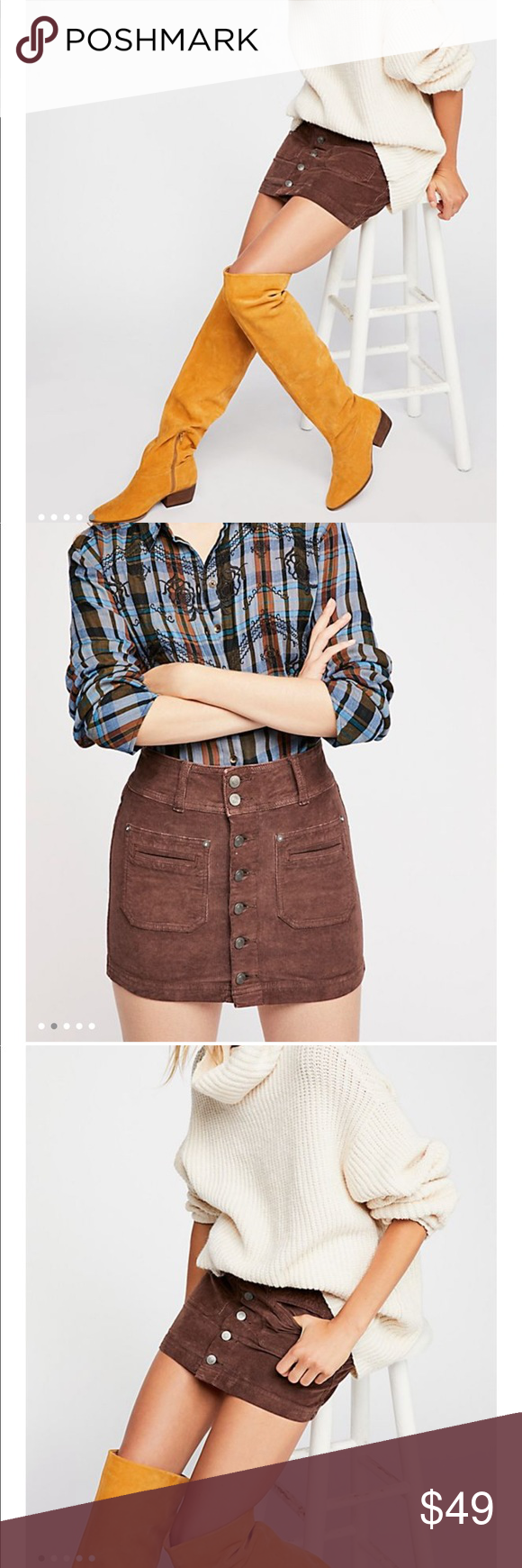 6c9aae9d38 Joanie Cord Skirt By Free people🍁 NWT / 26 -Button up corduroy mini skirt