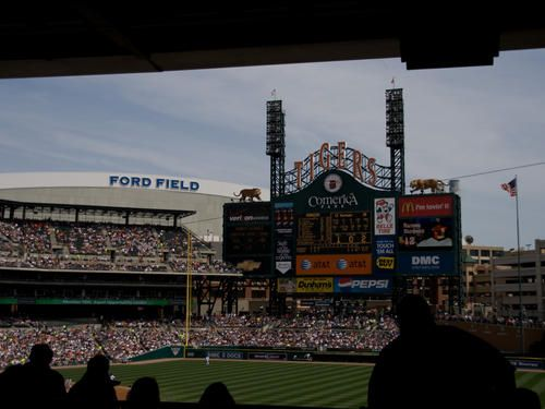 great view of ford field from comerica park   smitten with the