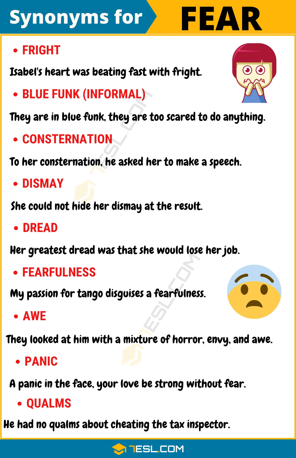 Another Word For Fear 95 Synonym With Useful Example In 2021 Writing Good Vocabulary Words Essay On