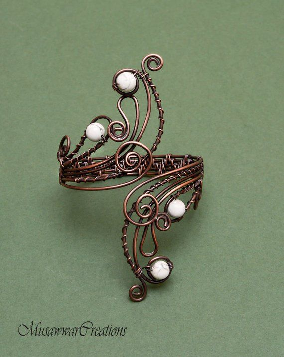 White & Grey Howlite stones antique copper bracelet cuff, Antique ...