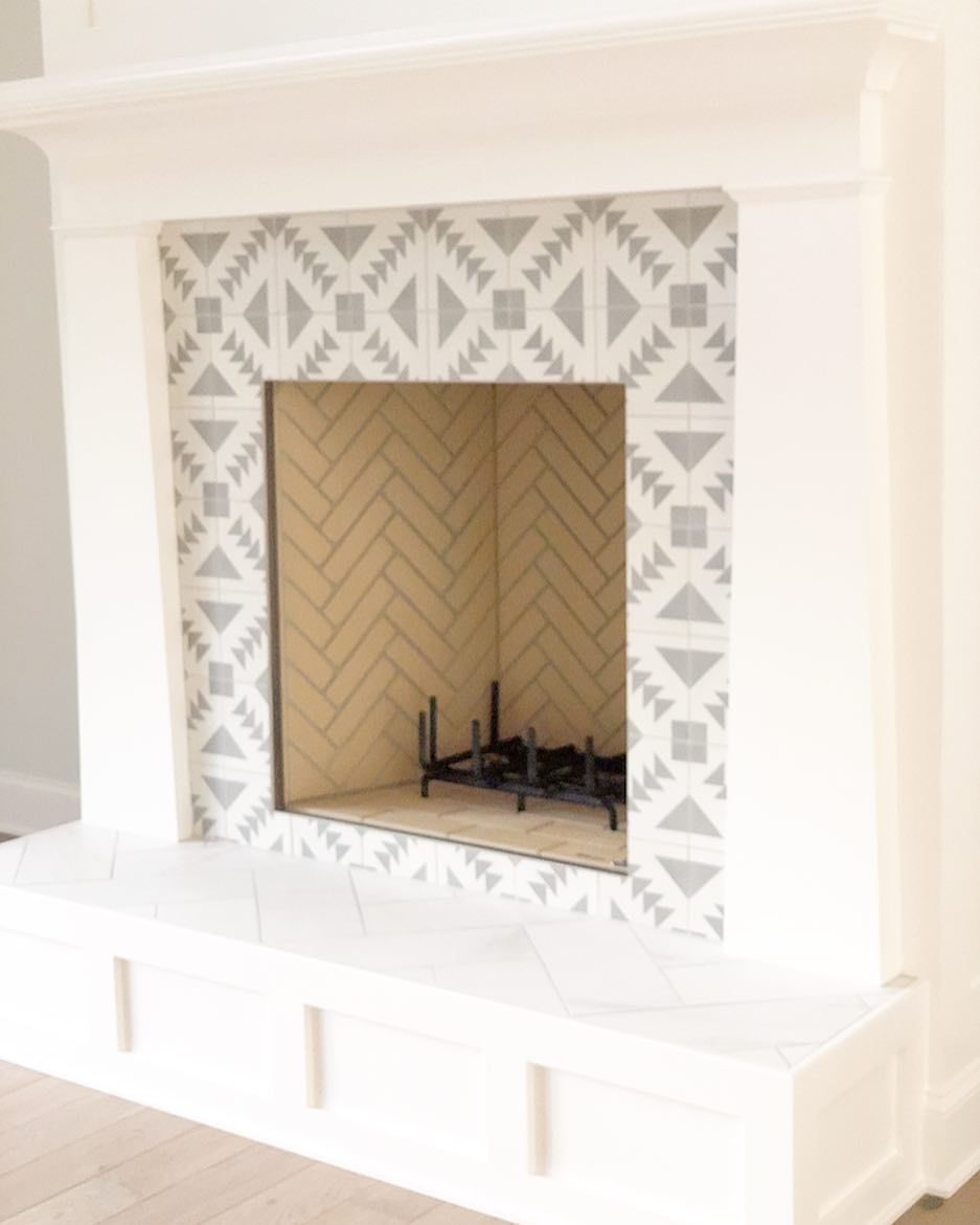 Cement Tile Around A Fireplace Surround Is A Fun Way To Add Pattern And Color To A Space Cementt Simple Fireplace Gas Fireplace Makeover Fireplace Makeover