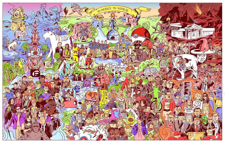 Il A Reussi A Resumer L Annee 2016 En Un Seul Dessin Et 127 References Les Arts Art Du Collage Comment Peindre