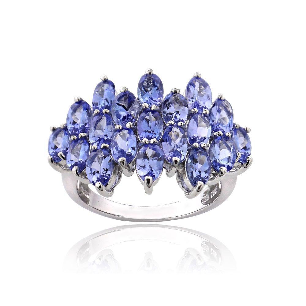 Fine Jewelry Womens Purple Tanzanite Sterling Silver Cluster Ring vTrhU