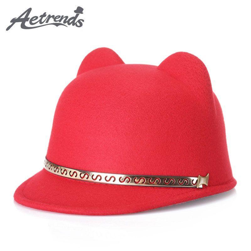 0ba327f9b56b4 AETRENDS  2017 New Woolen Felt Cute Ears Fedora Hats for Women Retro  Fedoras Caps Z