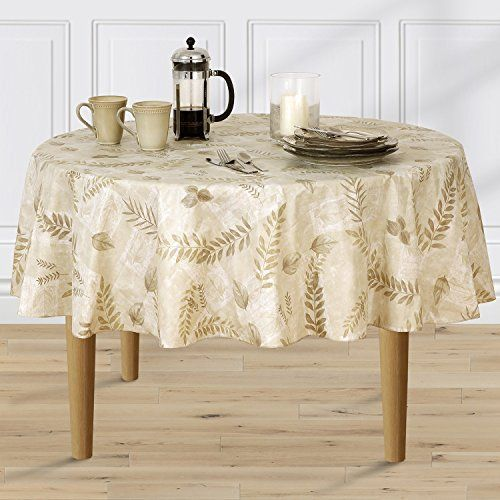 Boxed Fern Flannel Backed Vinyl Tablecloth Indoor Outdoor 60 Inch Round Taupe Vinyl Tablecloth Table Cloth Outdoor Tablecloth