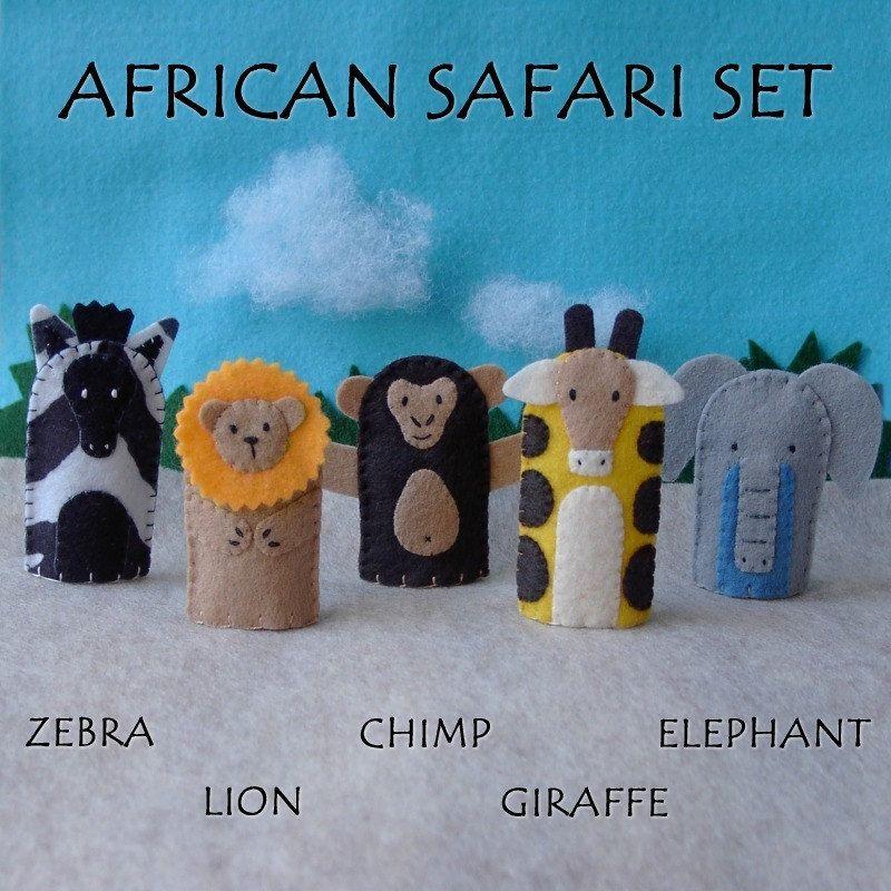 African Safari Finger Puppets Set - Zebra Lion Chimp Giraffe Elephant. $20.00, via Etsy.