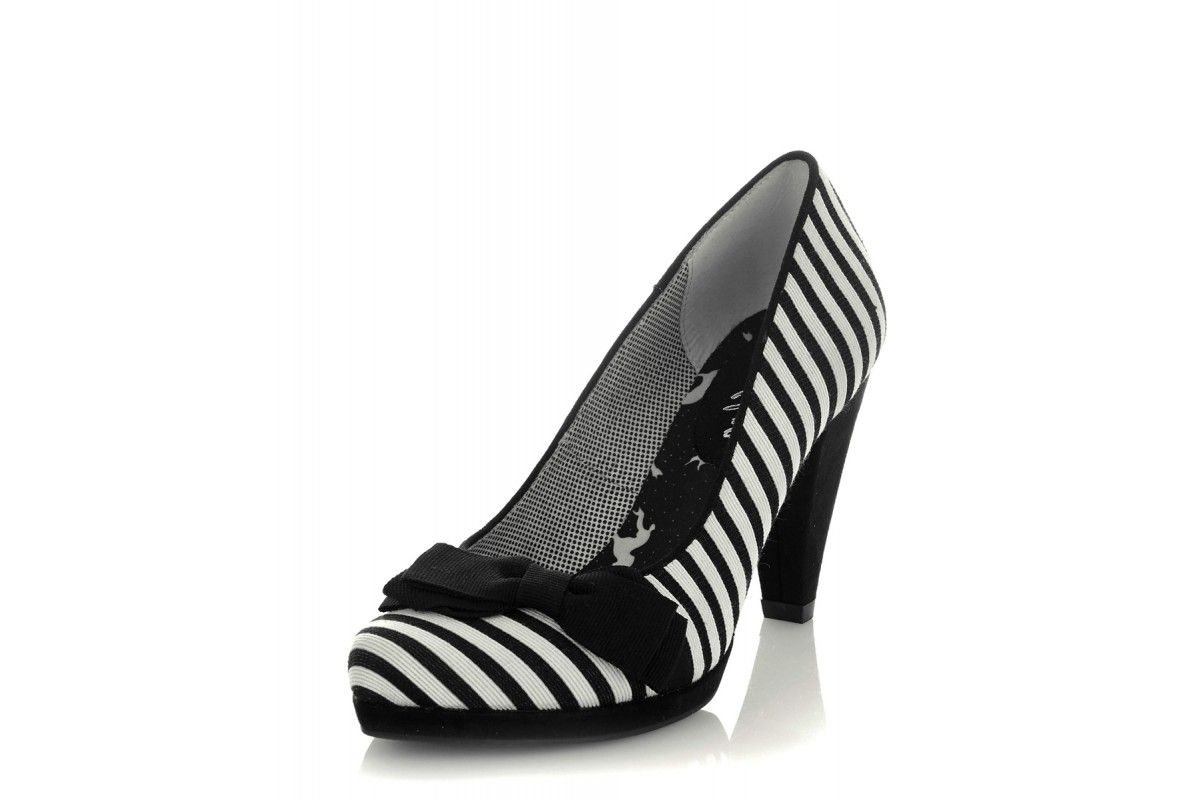 2fd29a71b6631 Ruby Shoo Susanna Black White Stripe Canvas High Heel Court Shoes ...