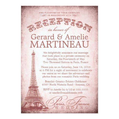 Paris Wedding Reception Paris Wedding Reception Only Invitation