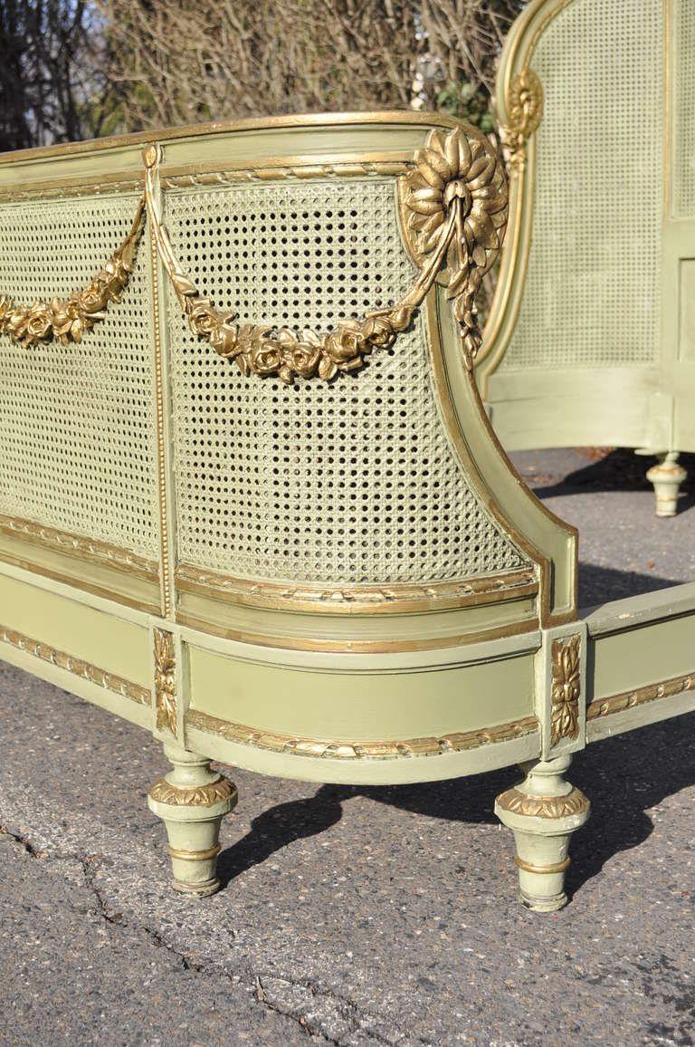 Circa 1900 French Louis XV / XVI Style Green & Gold