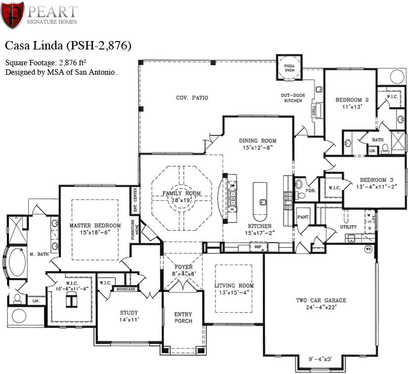 Single story open floor plans casa linda 1 story home for Custom home floor plans