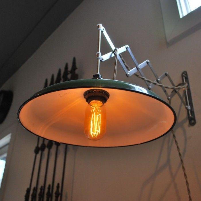30 Cool Industrial Design Kitchens: Antique Green Enamel Wall Scissor Lamps
