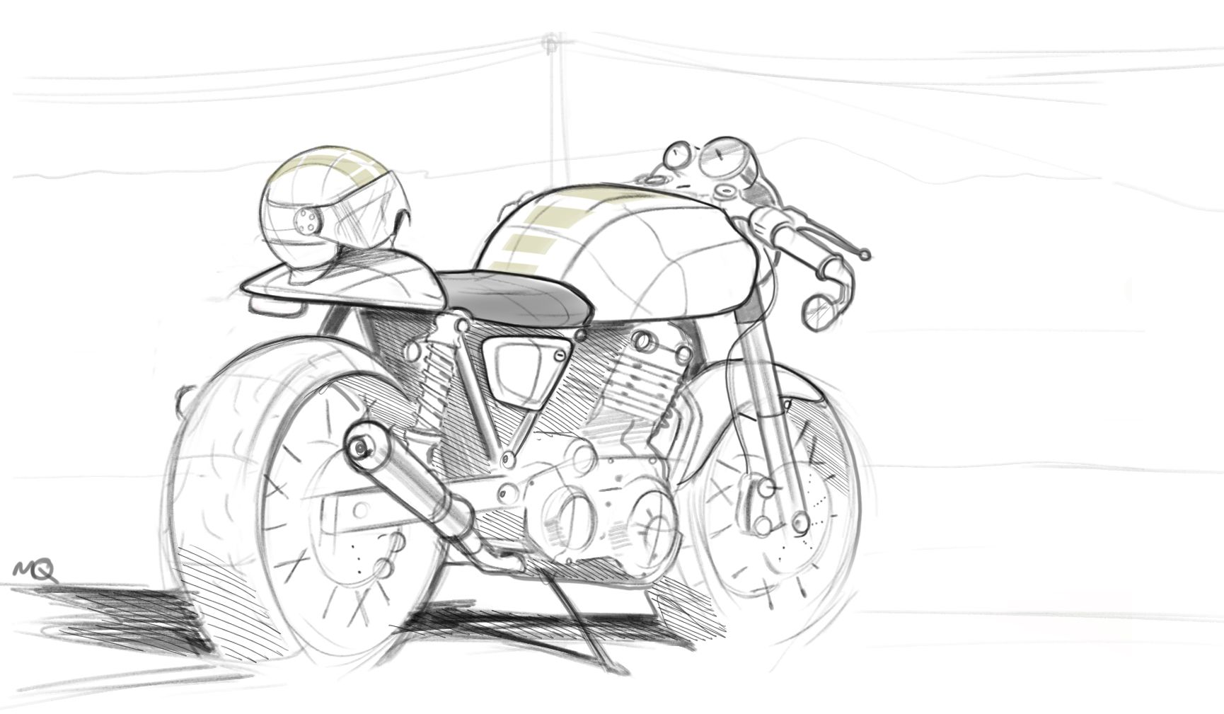 Sketch Of A Cafe Racer My Sketches Pinterest Motorcycle Design