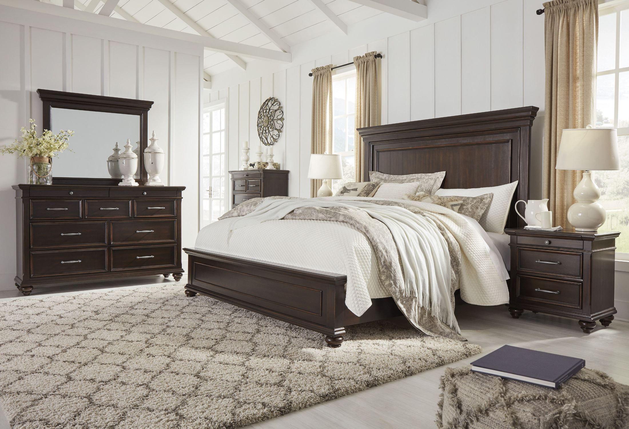 Brynhurst Dark Brown King Panel Bed In 2021 Brown Furniture Bedroom Dark Brown Bedrooms Dark Bedroom Furniture