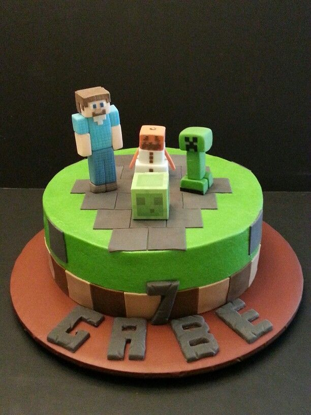Minecraft cake OKtoo weird Already has Gabes name and how old