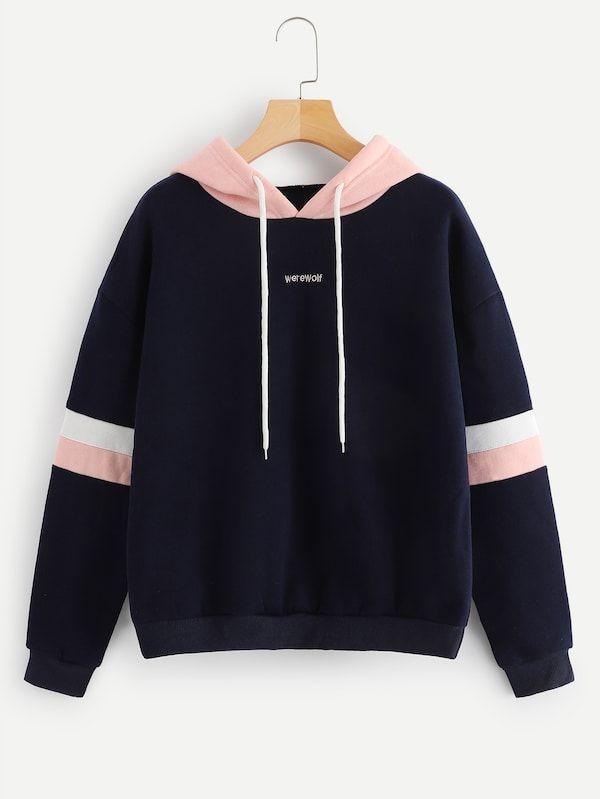 6ffbf934156eb Contrast Panel Drawstring Hoodie ,women's hoodies,champion hoodie,womens  hoodies on sale,womens designer hoodies,#shein #sheinside #fashion  #beautiful #tops ...