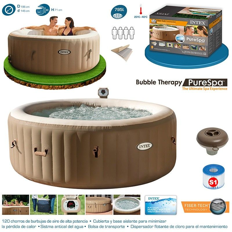 comprar spa intex purespa bubble therapy para 4 personas 28404ex a precio de outlet con la. Black Bedroom Furniture Sets. Home Design Ideas