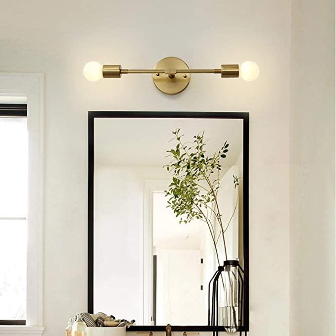 Modo Lighting Mid Century Modern Wall Lamp Mounted Sconce 2 Light Minimalist Raw Brass Brass Bathroom Lighting Modern Bathroom Lighting Bedroom Light Fixtures