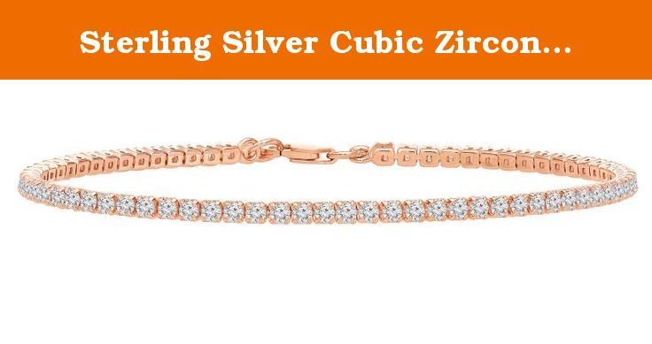 """Sterling Silver Cubic Zirconia Tennis Bracelet with Adjustable Size From 7"""" or 8"""". 925 Sterling Silver. Dazzling Cubic Zirconia that reveals brilliant shine and a meticulous cut. Bracelet can be adjusted from 7"""" or 8"""" length to fit your preference and style. Gift Ready, Packaged In Elegant Jewelry Gift Box. Classic tennis bracelet crafted from single row of prong-set cubic zirconia rounds."""