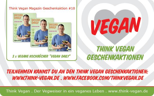 """Gewinnt 3 Mal das Kochbuch """"Vegan Daily""""! Auf der Facebook-Seite von Think Vegan könnt ihr noch bis 11. Januar 2015 drei Mal das Kochbuch """"Vegan Daily"""" gewinnen..."""