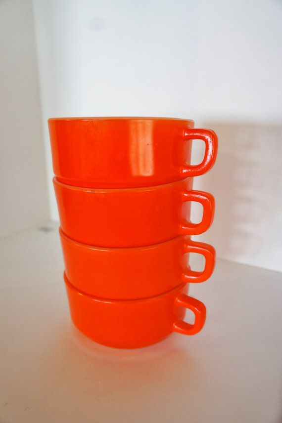 4 Anchor Hocking Orange Soup Bowl Mugs With Handles Oven Proof Etsy Soup Bowl Mugs White Milk Glass