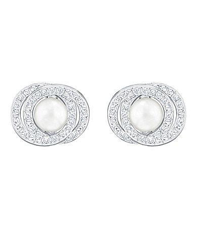 Swarovski Elaborate Crystal And Fauxpearl Stud Earrings Dillards