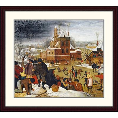 "Global Gallery 'Townsfolk Skating on a Castle Moat' by Pieter Bruegel the Elder Framed Painting Print Size: 34.01"" H x 38"" W x 1.5"" D"