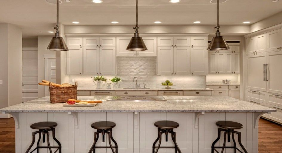 Awe Inspiring Standard Bar Height Kitchen Island With 5 Element Electric Cooktop And Re White Shaker Kitchen Contemporary Kitchen White Shaker Kitchen Cabinets
