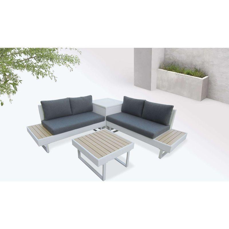 Salon De Jardin D Angle Aluminium Gris Anthracite New York
