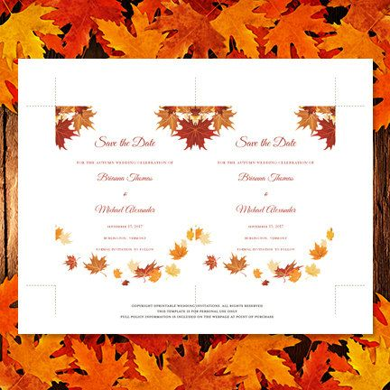Falling Leaves Printable Save the Date Card Autumn or Thanksgiving