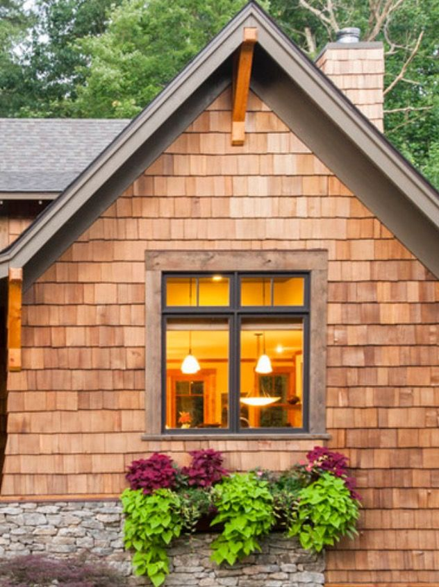 Best Example Of Dark Trim And Windows With Cedar Shakes In 2019 400 x 300