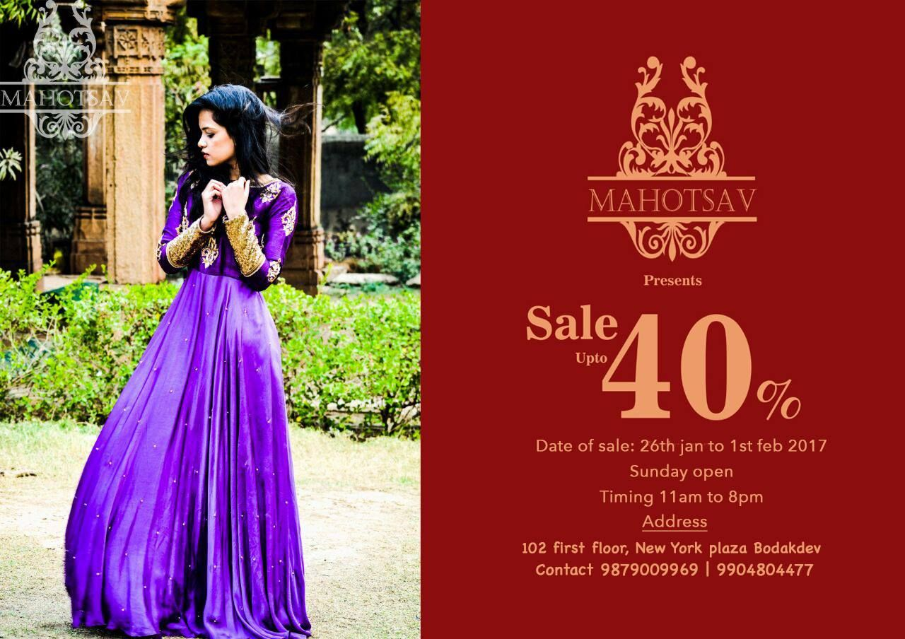 Upto 40% OFF on wedding, occasion & casual wear @ #MAHOTSAV! Date: 26th Jan to 1st Feb Timing: 11 am to 8 pm Address: 102, first floor, New York plaza, Bodakdev.  Contact: 9879009969 | 9904804477 #Fashion #Clothing #IndoWestern #Mahotsav #CityShorAhmedabad