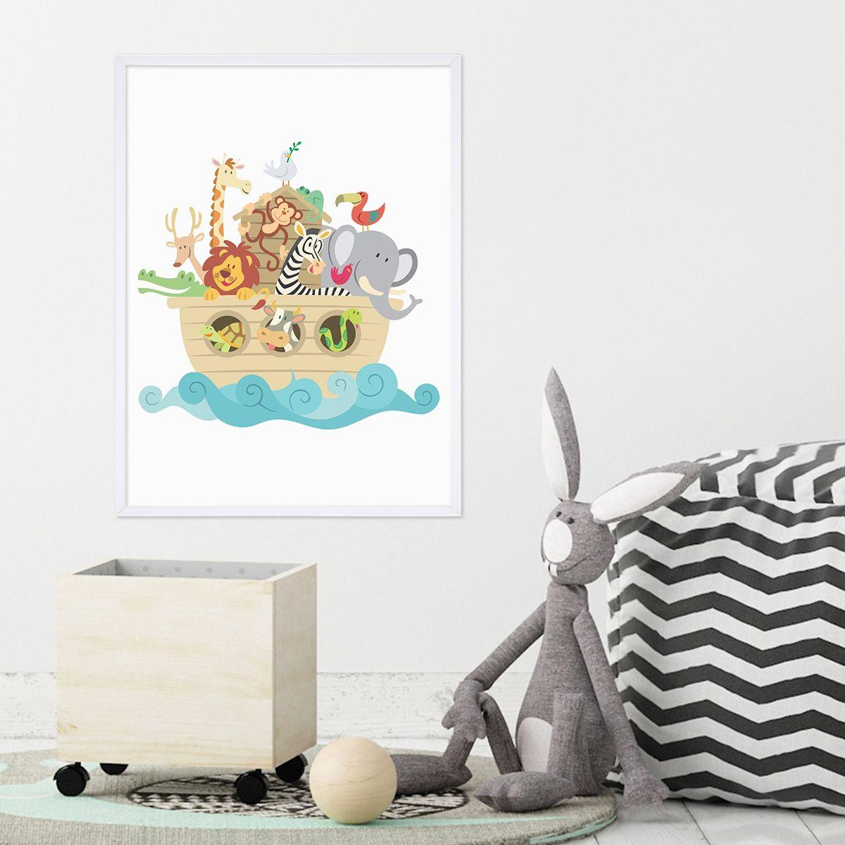 Poster mit Bilderrahmen Weiss 'Noahs Arche' 30x40 cm