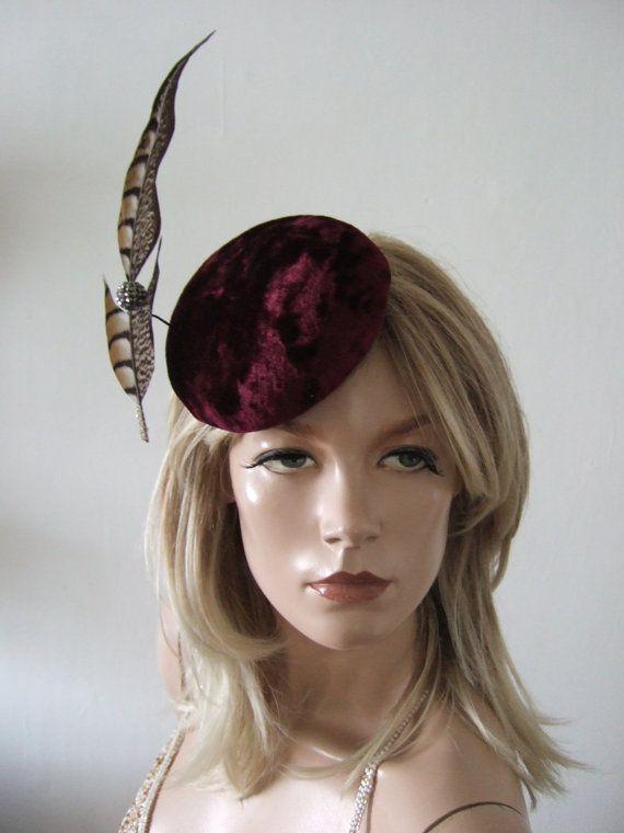 9cceae0e1f576 Burgundy Velvet Button Cocktail Hat Headpiece Suspended Pheasant Fascinator