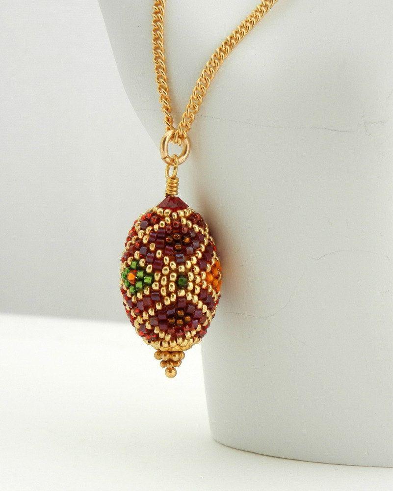 Holiday Bauble Pendant Necklace - Handmade Beaded Bead by Sharri Moroshok