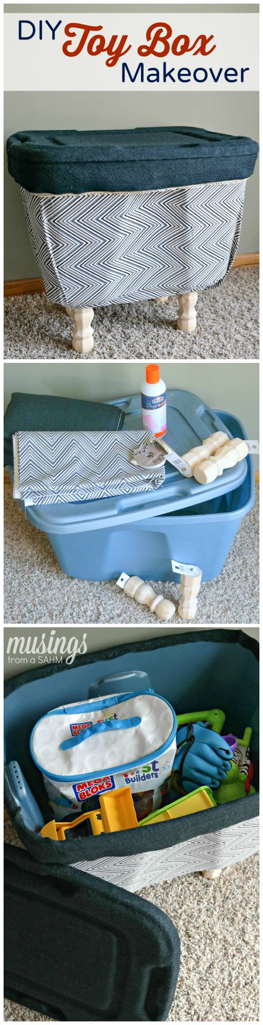 DIY Toy Box Makeover | Pinterest | Diy toy box, Plastic bins and Toy ...