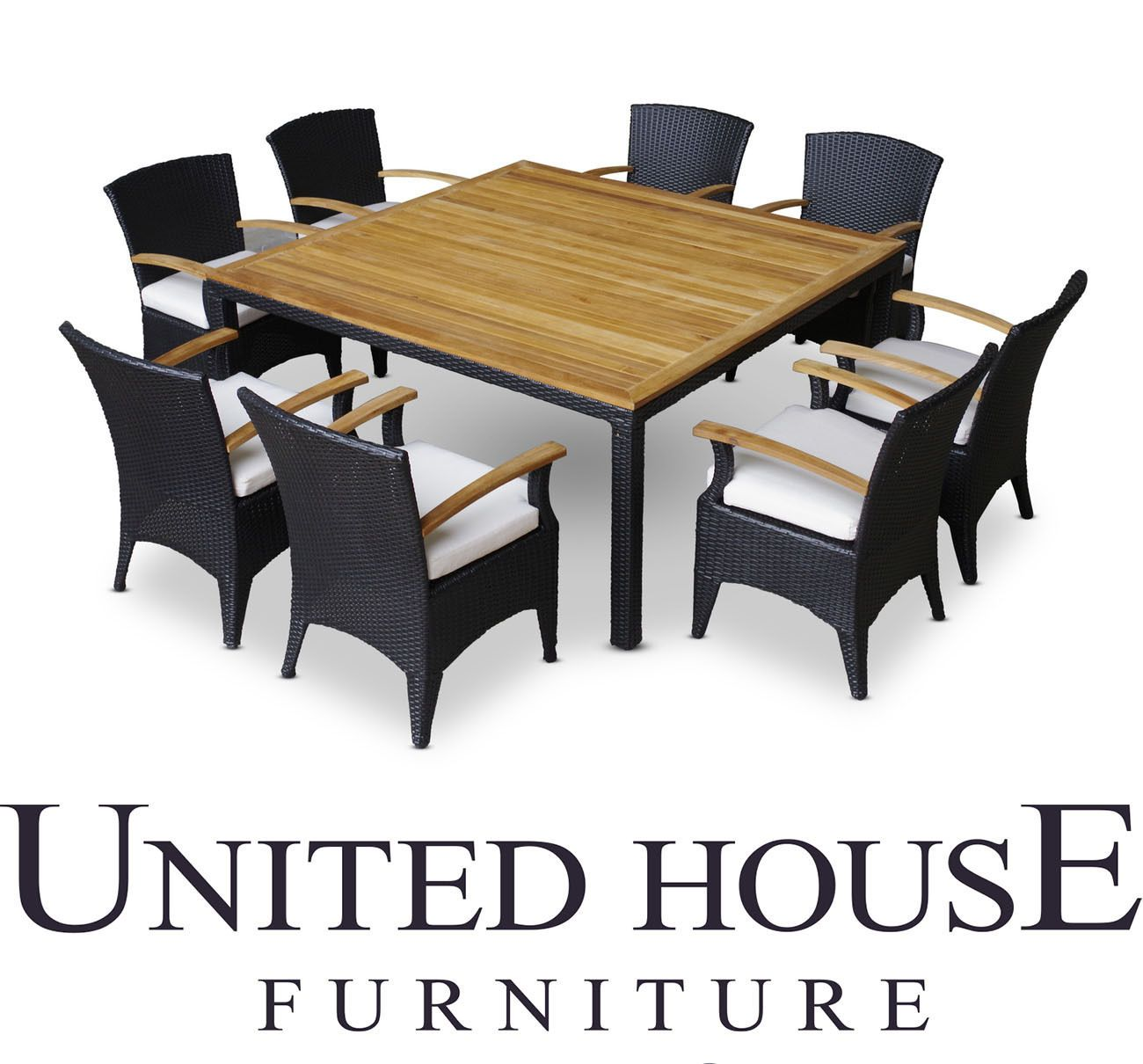 Outdoor Wicker Teak Timber Square 8 Seater Dining Table Chairs Furniture Setting Mesas Comedor