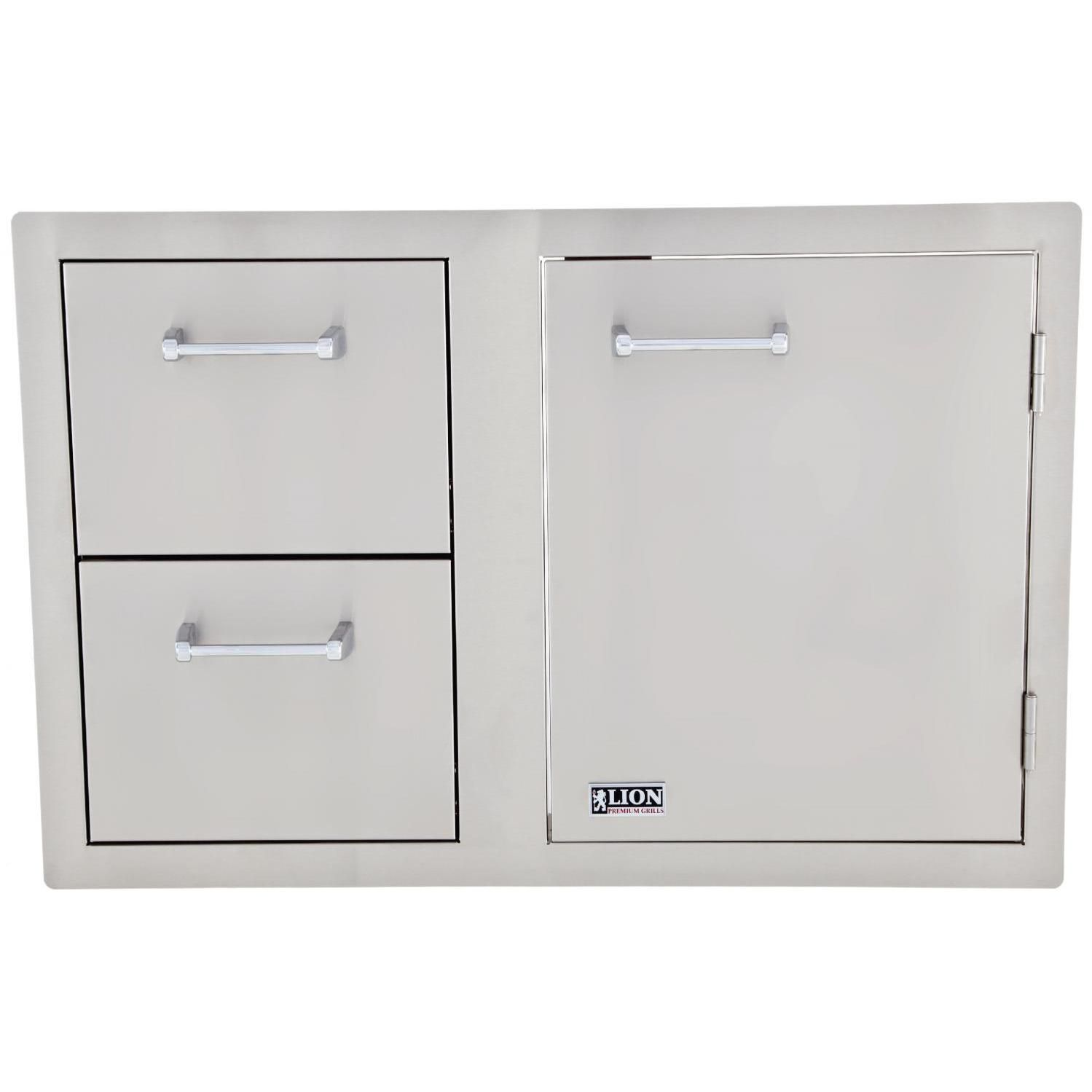 Lion 33 Inch Access Door Double Drawer Combo Bbqguys Steel Kitchen Cabinets Stainless Steel Kitchen Cabinets Outdoor Kitchen