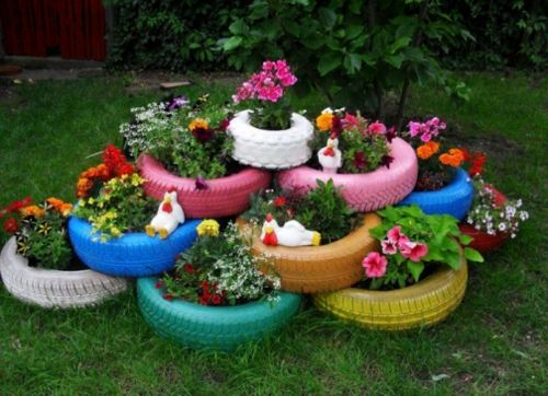 gartendekoration selber machen bunte autoreifen als blumentöpfe, Garten ideen