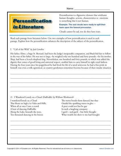 Personification In Literature Students Worksheets And Literature