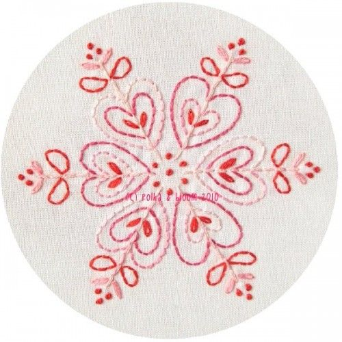 Pink Snowflake Embroidery Pattern Pdf $4.50 on Polka & Bloom at http://shop.polkaandbloom.com/#!/~/product/category=790508=3326171