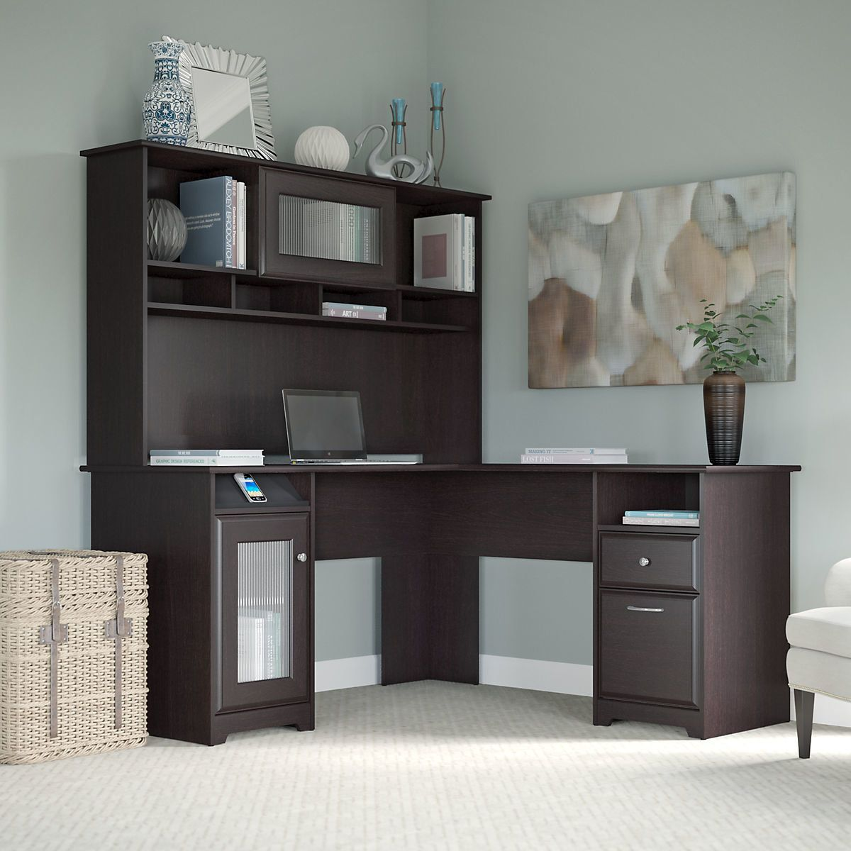 Toledo lshaped executive desk with hutch products pinterest