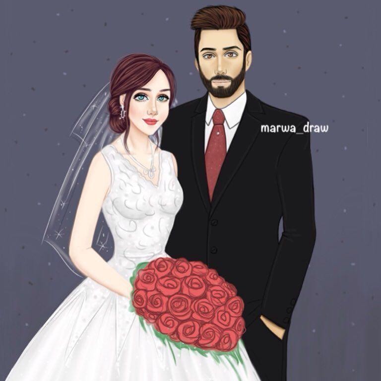 صور رسم بنات كرتون رمزيات رسومات انمي للانستقرام Cute Couple Drawings Lovely Girl Image Wedding Couple Cartoon