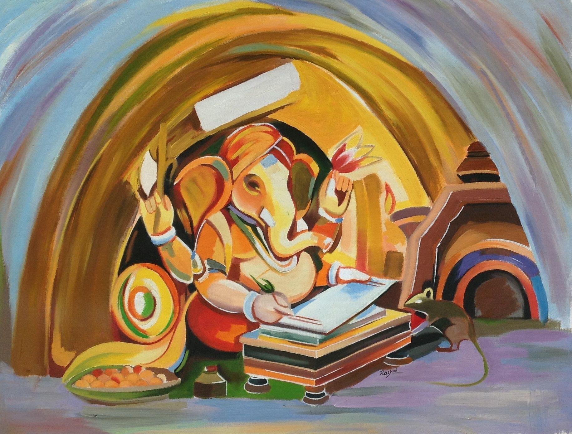 Ganesh Hindu Art Hand Painted Ganesha Indian Canvas Oil ...