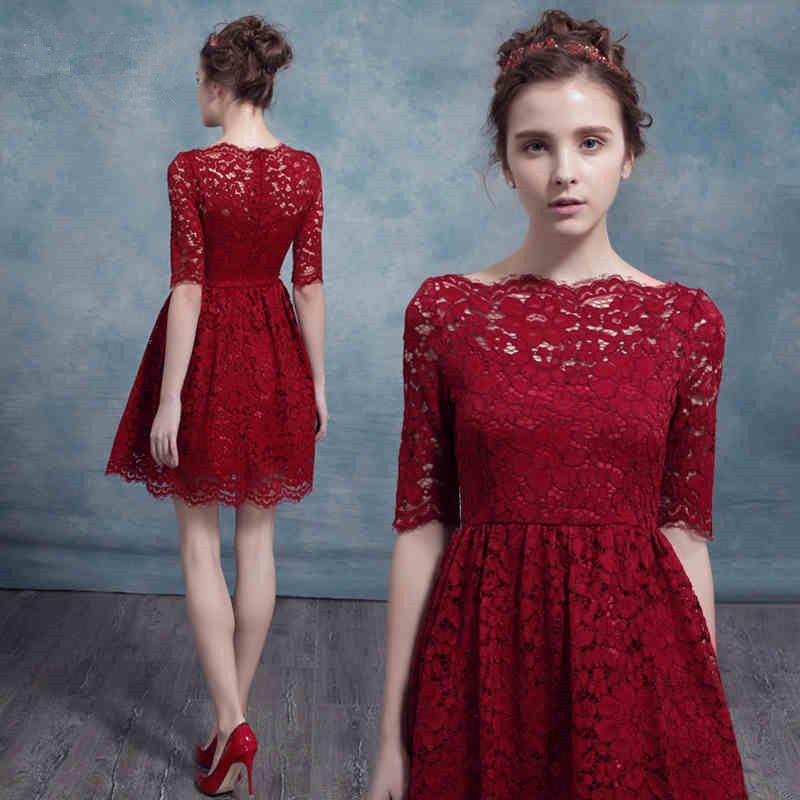 310d495b07 A line Bateau Half Sleeve Short Party Dress 8th Grade Prom Dresses vestido  de festa curto Red Lace Homecoming Dresses 2017