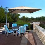 Santorini II 10 ft. Square Cantilever Patio Umbrella in Terra Cotta Sunbrella Acrylic