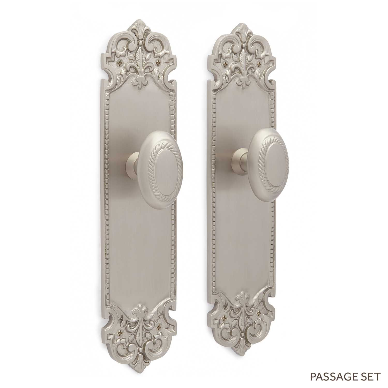 Aurore Decorative Plate & Oval Rope Knob Set - Passage - Brushed Nickel