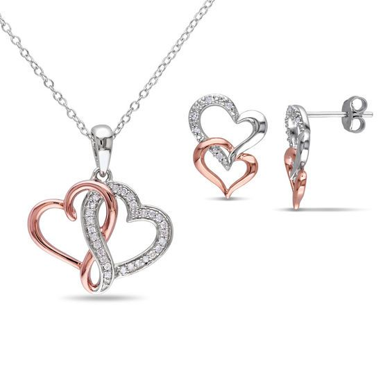 Diamond Interlocking Hearts Pendant and Stud Earrings Set in Sterling Silver with Rose Rhodium